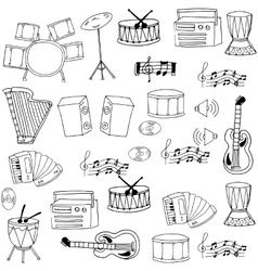 Doodle of hand draw music object vector