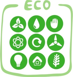 Collection of nine green eco-icons vector