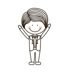 Silhouette boy with open arms and formal suit vector