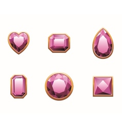 Set of pink colored gems vector image