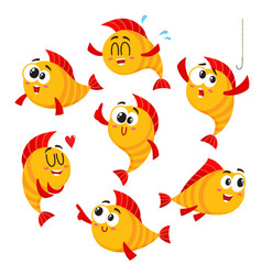 Golden yellow fish characters with human face vector