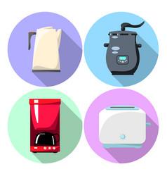 Home appliances in flat style - tea pot steamer vector