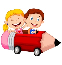 Happy children cartoon riding pencil car vector image