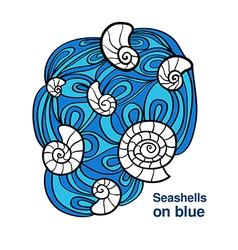 Sea shell on blue waves vector