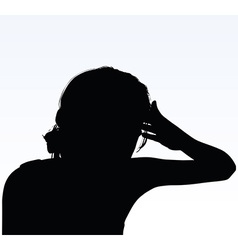 Woman silhouette with hand gesture headache vector