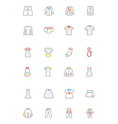 Clothes colored outline icons 2 vector