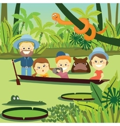 Family weekend family on holiday in the jungle vector