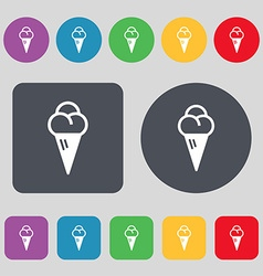 Ice cream icon sign a set of 12 colored buttons vector