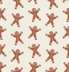 Seamless pattern with gingerbread man vector