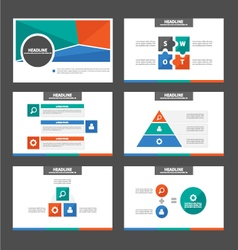 Green orange blue presentation templates set vector