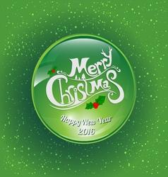 Green ball merry christmas vector