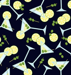 Seamless pattern with a glass of martini with vector