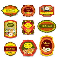 Indian food colorful emblems vector