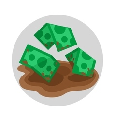 Dirty money flat icon vector