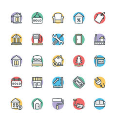 Real estate cool icons 3 vector
