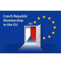 European union flag wall with czech republic flag vector