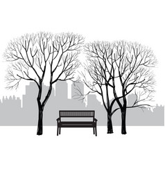 Bench in city park winter landscape city tree vector