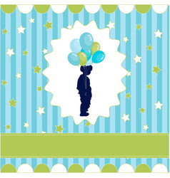 boy with balloon blue wallpaper vector image