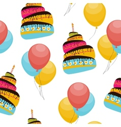 Cake and balloons holiday seamless pattern vector