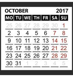 calendar sheet October 2017 vector image vector image