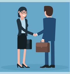 cartoon men and women shaking hands vector image vector image