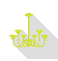 Chandelier simple sign pear icon with flat style vector