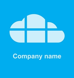 cloud on a blue background the cloud is divided by vector image vector image