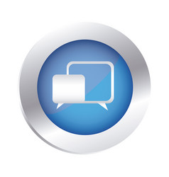 Color circular emblem with speech icon vector