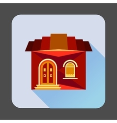 Cute red house icon flat style vector