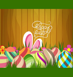easter greeting card with colorful eggs on wood vector image vector image
