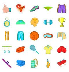 Elite sports icons set cartoon style vector