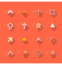 Flat Design Arrows Set on Red Background vector image vector image