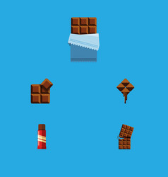 flat icon bitter set of cocoa bitter delicious vector image vector image