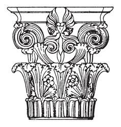 Greek corinthian capital monument in lysikrates vector