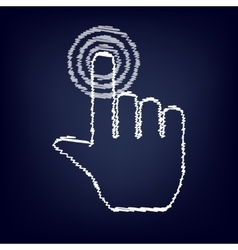 Hand icon with chalk effect vector