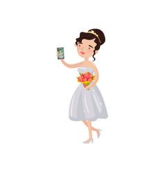 happy beautiful bride taking selfie photo cartoon vector image