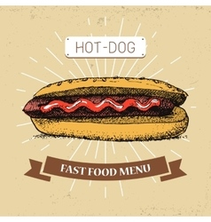 Hot-dogfast food in vintage vector