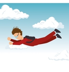 Man sky diving extreme sport vector