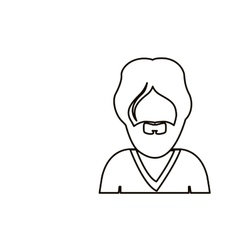 monochrome contour with half body man with beard vector image