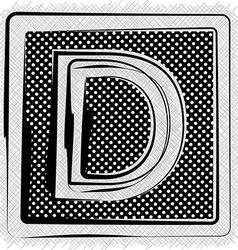 Polka dot font letter d vector
