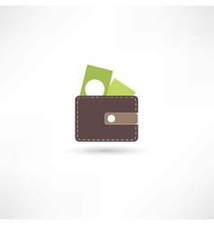 purse and green money vector image vector image