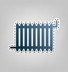 radiator sign blue icon with outline for vector image