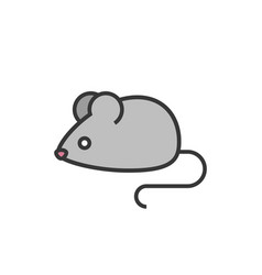 rat or mouse outline icon with fill colour vector image