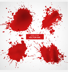 Red ink splashes set vector