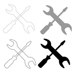 Screwdriver and wrench the black and grey color vector