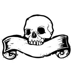 Skull banner vector image vector image