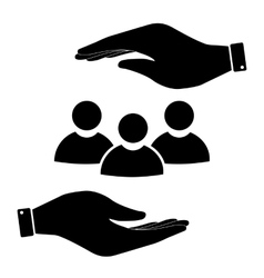 Society in hand icon vector