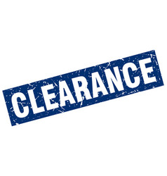 Square grunge blue clearance stamp vector