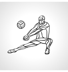 Volleyball player outline silhouette vector