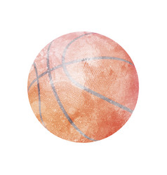 watercolor basketball on white vector image vector image